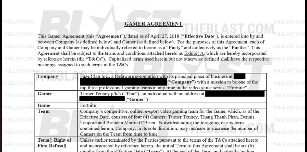 contrato entre Tfue y Faze clan