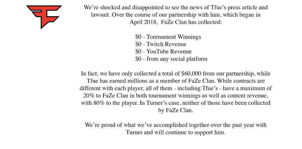 nota de prensa Faze Clan sobre Tfue